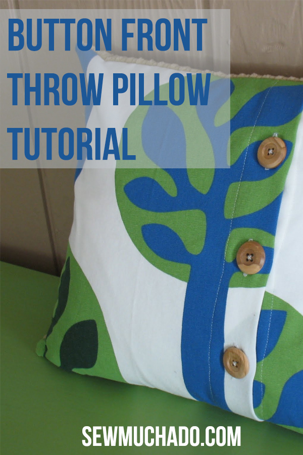 button front throw pillow tutorial