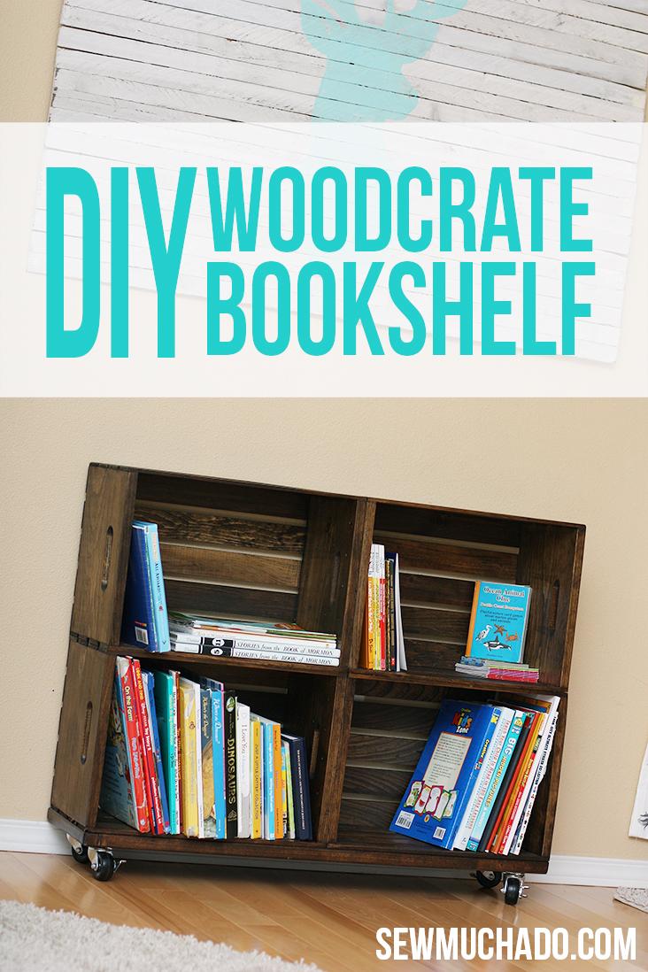 diy wood crate bookshelf sew much ado. Black Bedroom Furniture Sets. Home Design Ideas