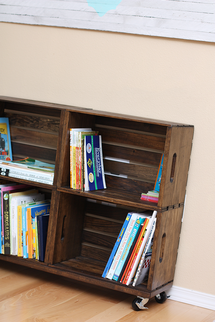 DIY Wood Crate Bookshelf - Sew Much Ado