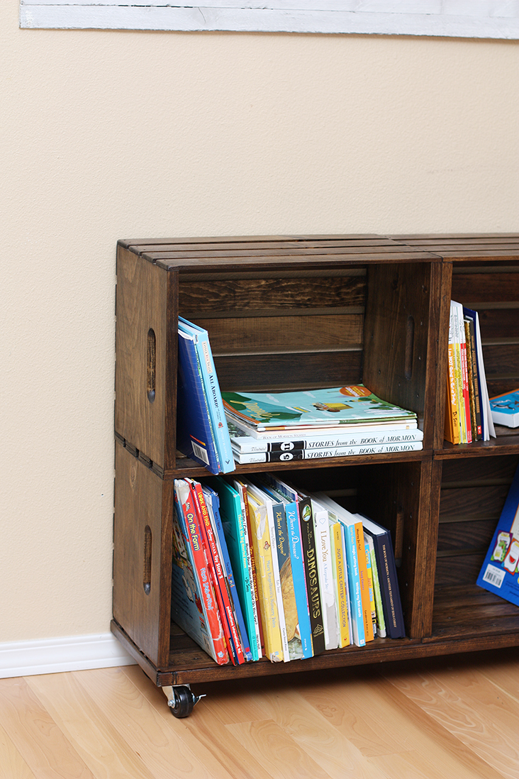 wood crate bookshelf