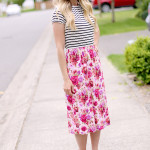 Stripe and Floral Knit Dress