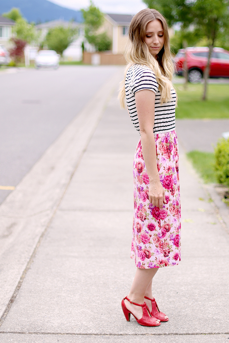 knit stripe and floral dress