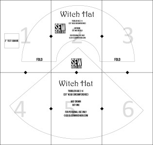 Witch Hat Pattern Piece Layout