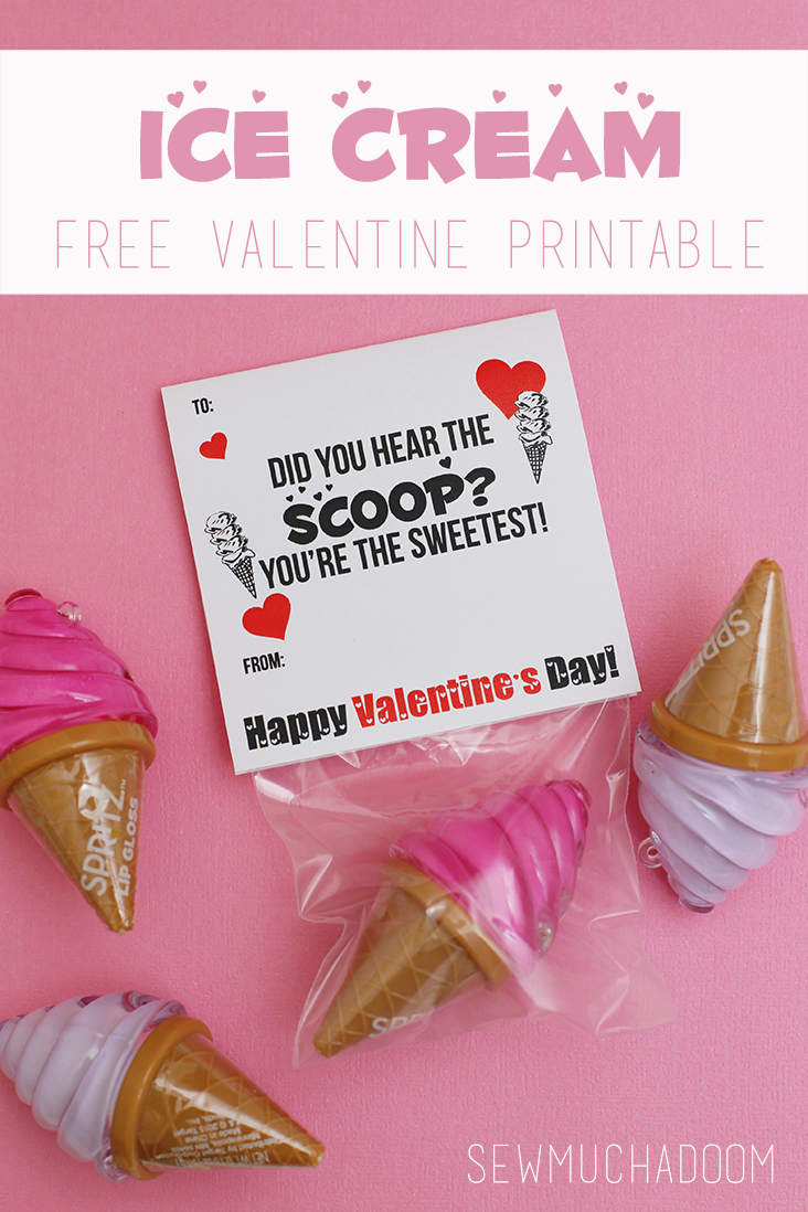 Ice Cream Valentine Free Printable