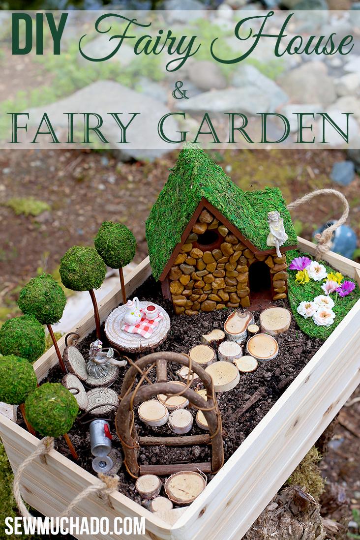 DIY Fairy Garden and Fairy House Tutorial - Sew Much Ado on fairy art, winter wonderland fun, fairy craft, spring fun, summer garden fun, mother's day fun, sewing fun, fairy vintage, fairy village, fairy swing, thanksgiving fun, fairy forest, fairy house fun,