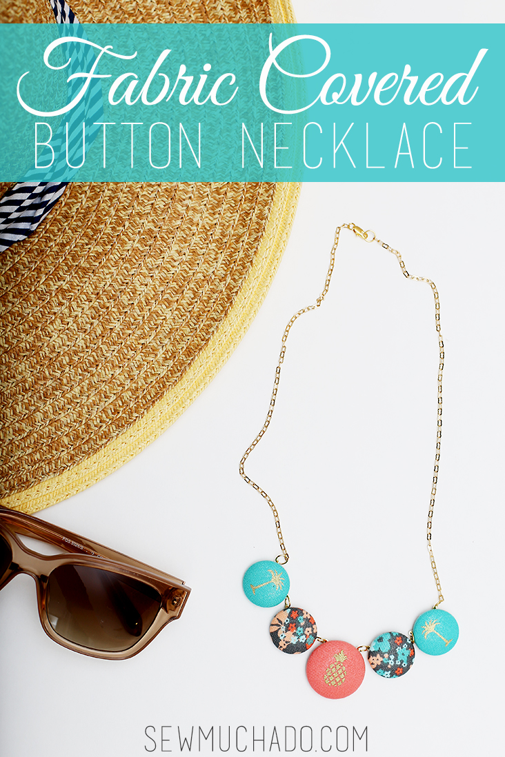 fabric covered button necklace