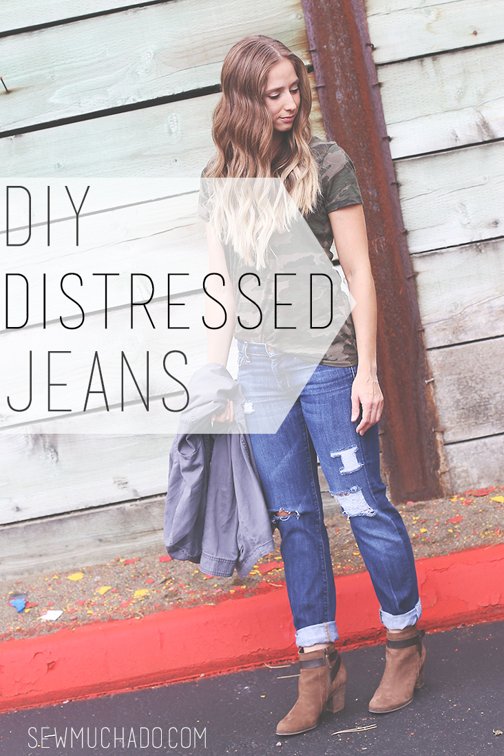 How To Distress Jeans Tutorial Sew Much Ado