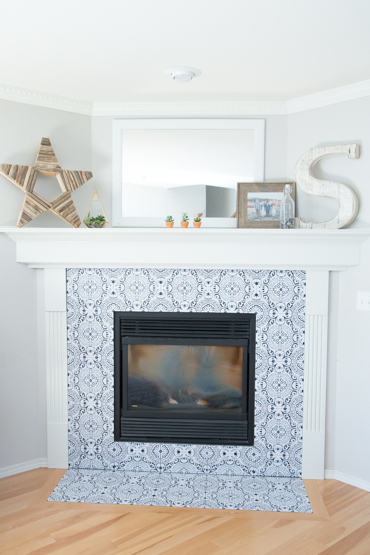 diy fireplace makeover with vinyl tiles - sew much ado